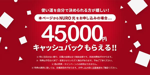 NURO光公式_4.5万円キャッシュバック