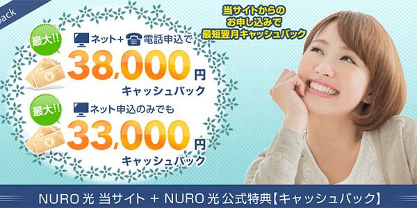 NURO光_アウンカンパニー_3万円キャッシュバック